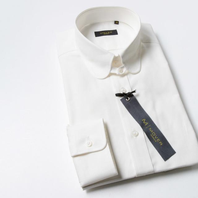 ラウンドタブカラーシャツホワイトオックス
